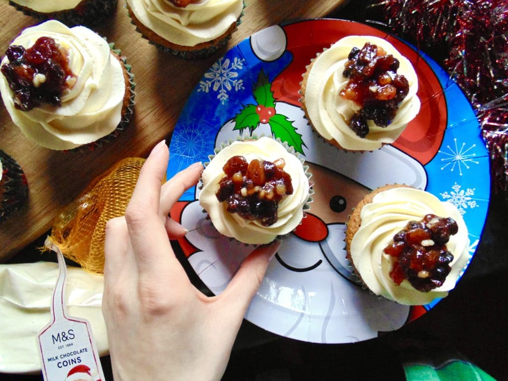 mince pie and custard cupcakes