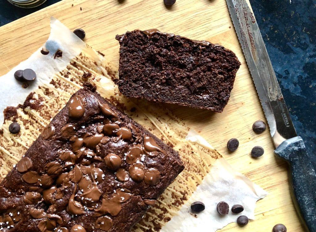 vegan salted double chocolate banana bread
