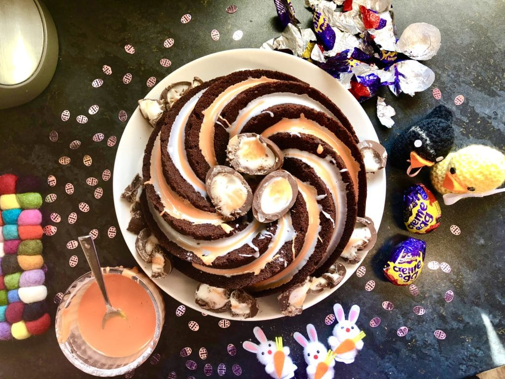 chocolate cadbury creme egg cake