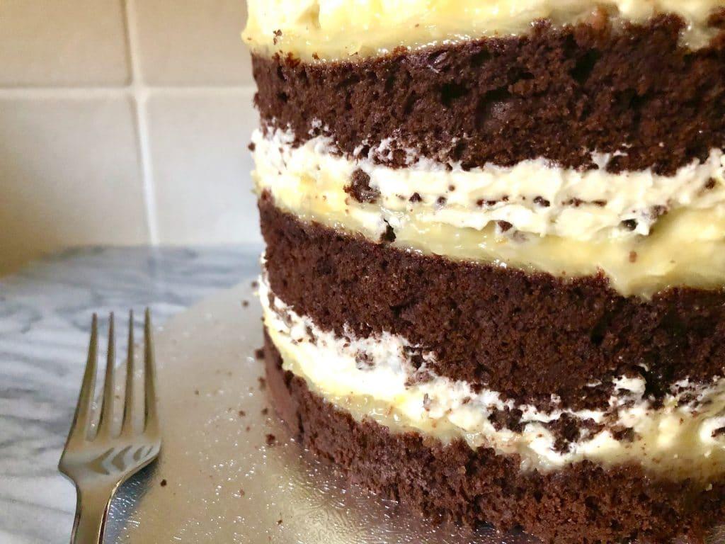 dark chocolate lemon layer cake